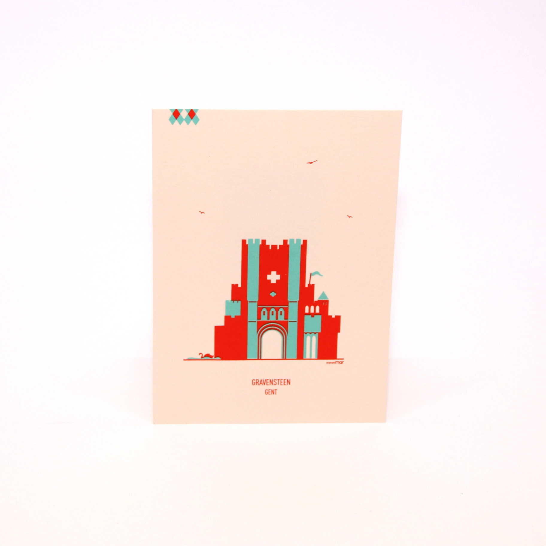 mmmMar Postcard Castle of the Counts Red/Green - mmmMar
