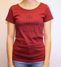 Negenduust T-shirt van 't Lam Gods gesleege - women's model claret-coloured -  Negenduust