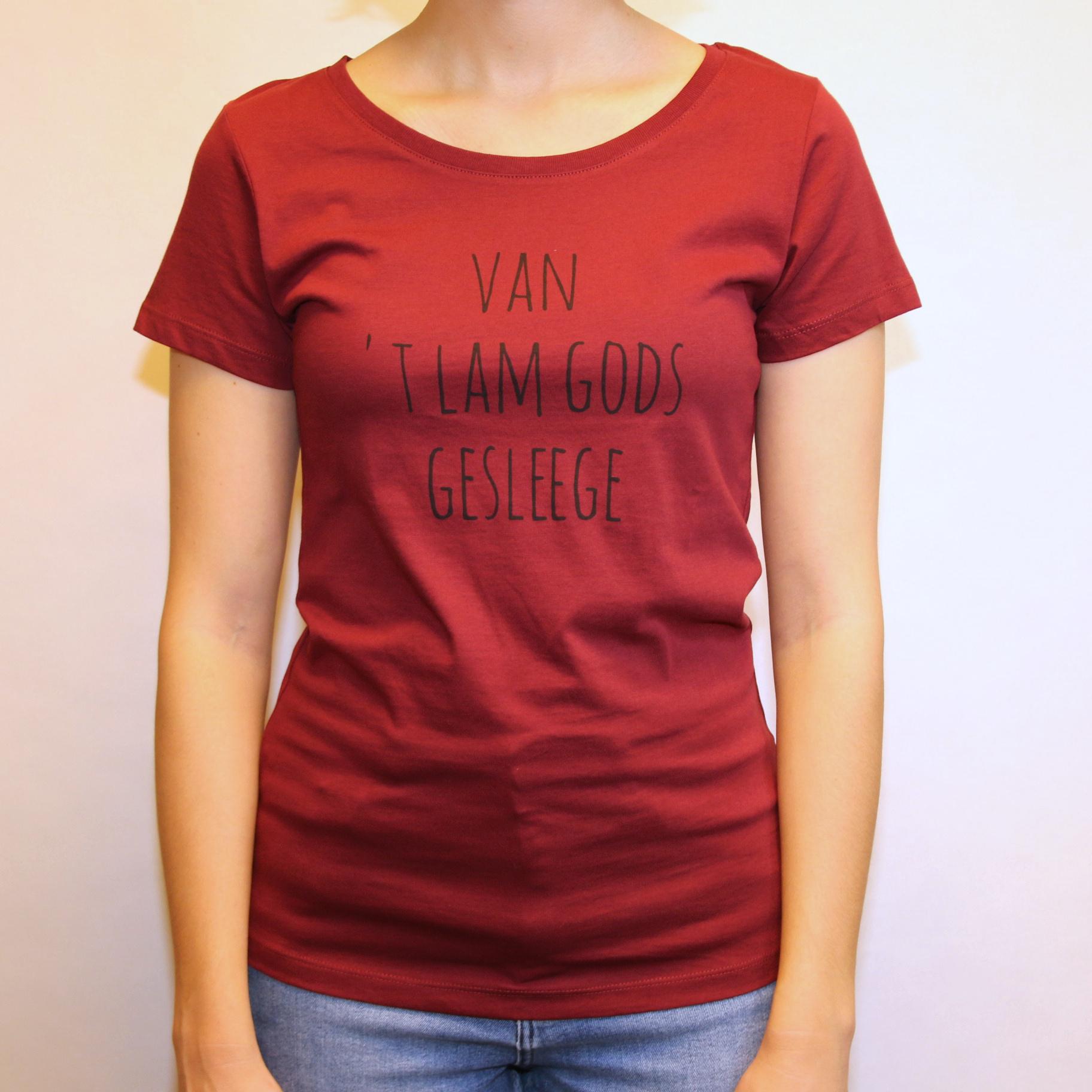 Negenduust T-shirt van 't Lam Gods gesleege - vrouwenmodel bordeaux - Negenduust