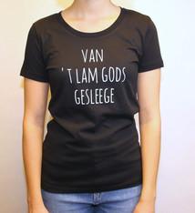 Negenduust T-shirt van 't Lam Gods gesleege - vrouwenmodel zwart - Negenduust
