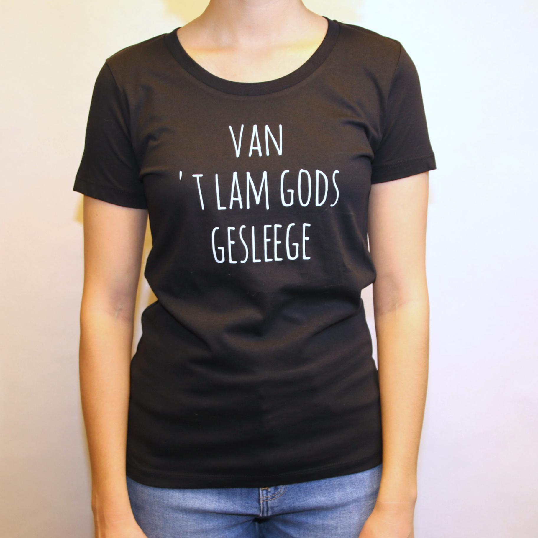 Negenduust T-shirt van 'Lam Gods gesleege - vrouwenmodel zwart - Negenduust