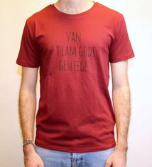 Negenduust T-shirt van 't Lam Gods gesleege - mannenmodel bordeaux - Negenduust