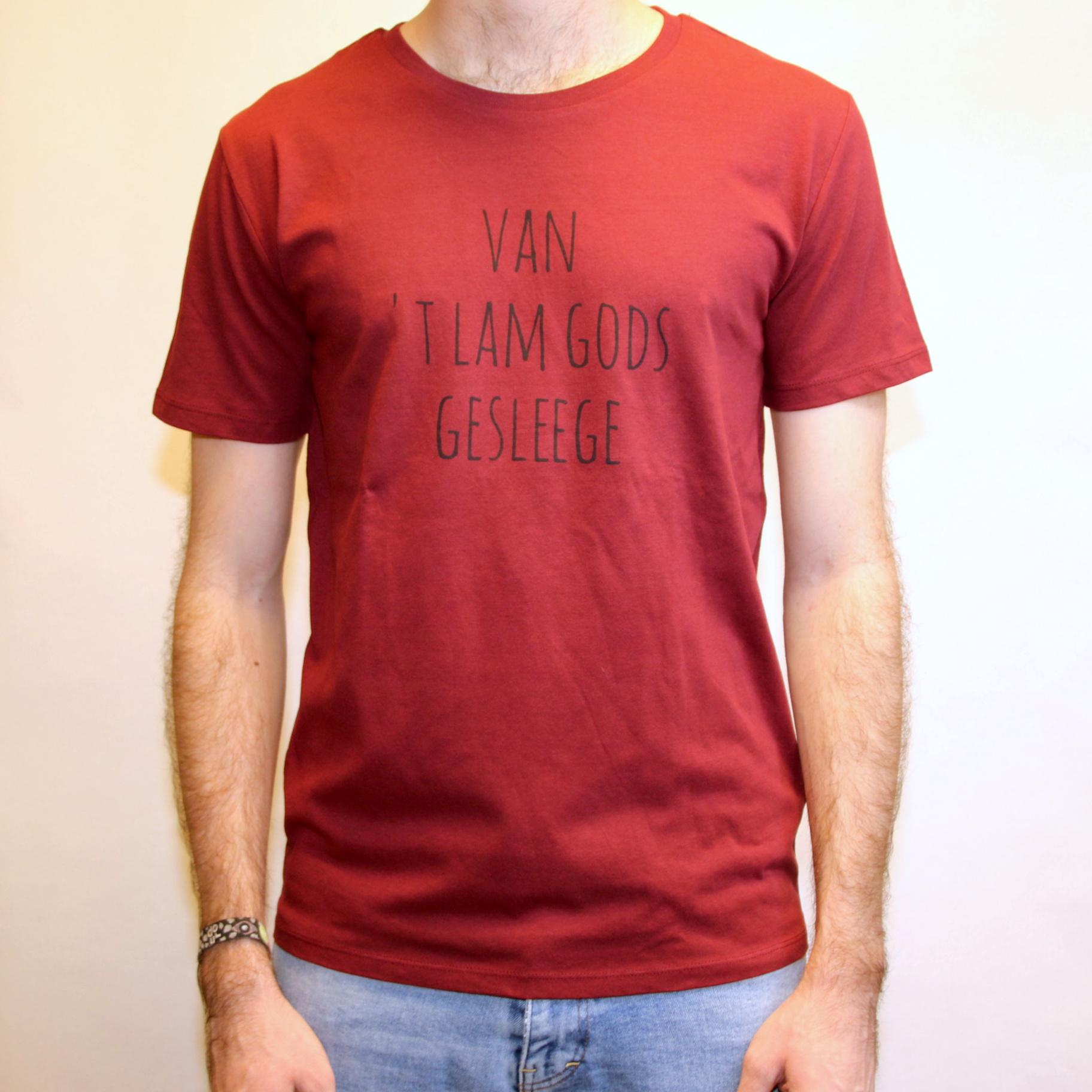 Negenduust T-shirt van 't Lam Gods gesleege mannenmodel bordeaux - Negenduust