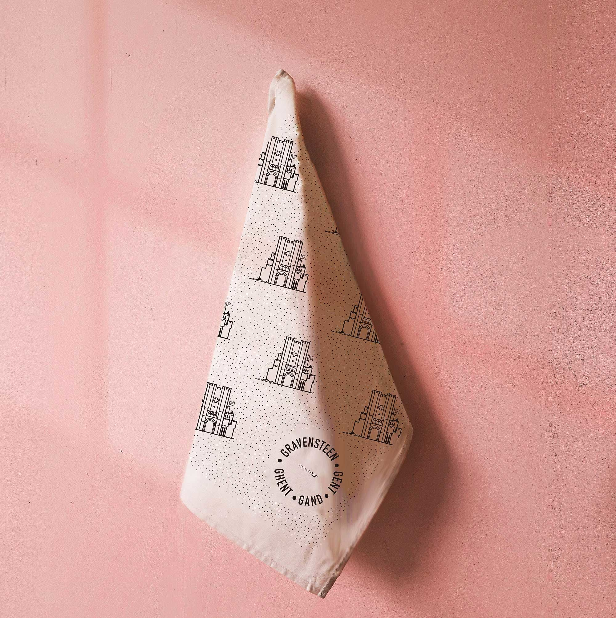 mmmMar Tea towel Castle of the Counts Mint green- mmmMar