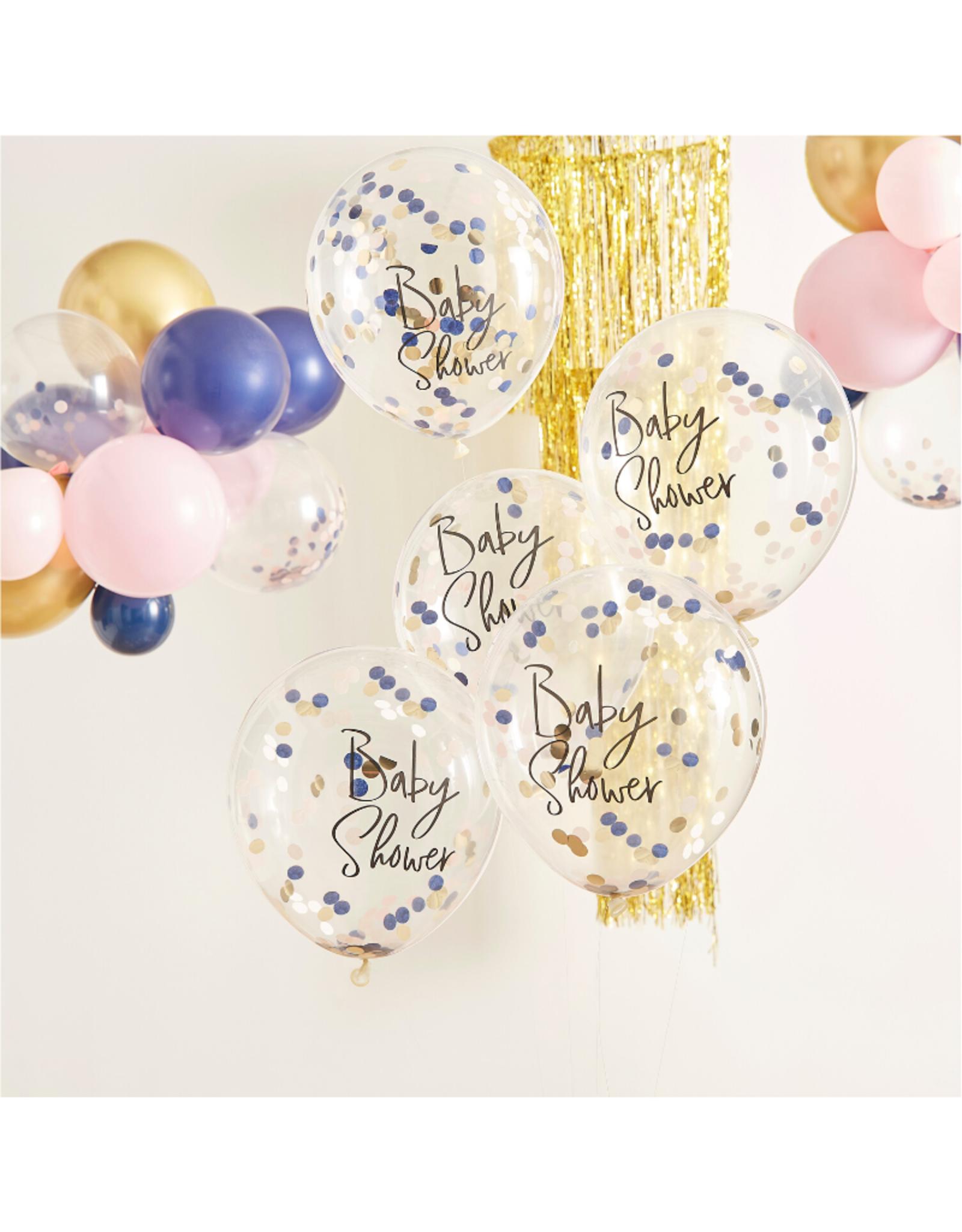 Ginger Ray Confetti Ballonnen Baby Shower Navy & Pink