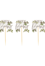 Ginger Ray Botanical Hey Baby Cupcake Toppers
