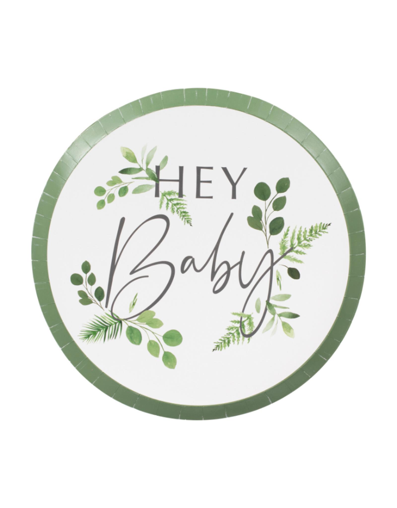 Ginger Ray Botanical Hey Baby Bordjes