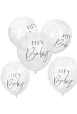 Ginger Ray Botanical Hey Baby Confetti Ballonnen Wit