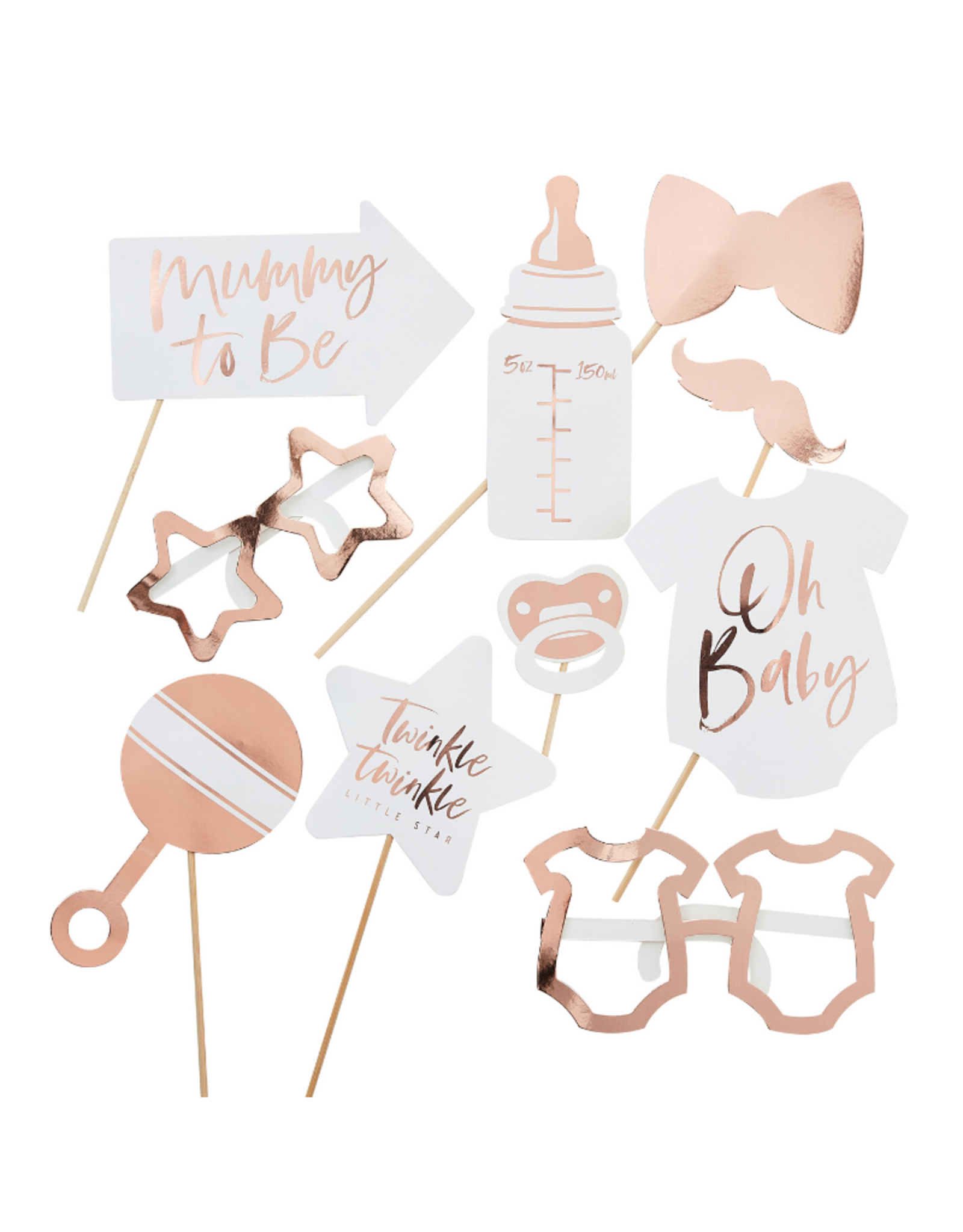 Ginger Ray Photo Booth Props Twinkle Twinkle Rosé Goud
