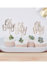 Ginger Ray Oh Baby! Cupcake Toppers Goud