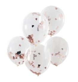 Ginger Ray Confetti Ballonnen Rosé Hartjes