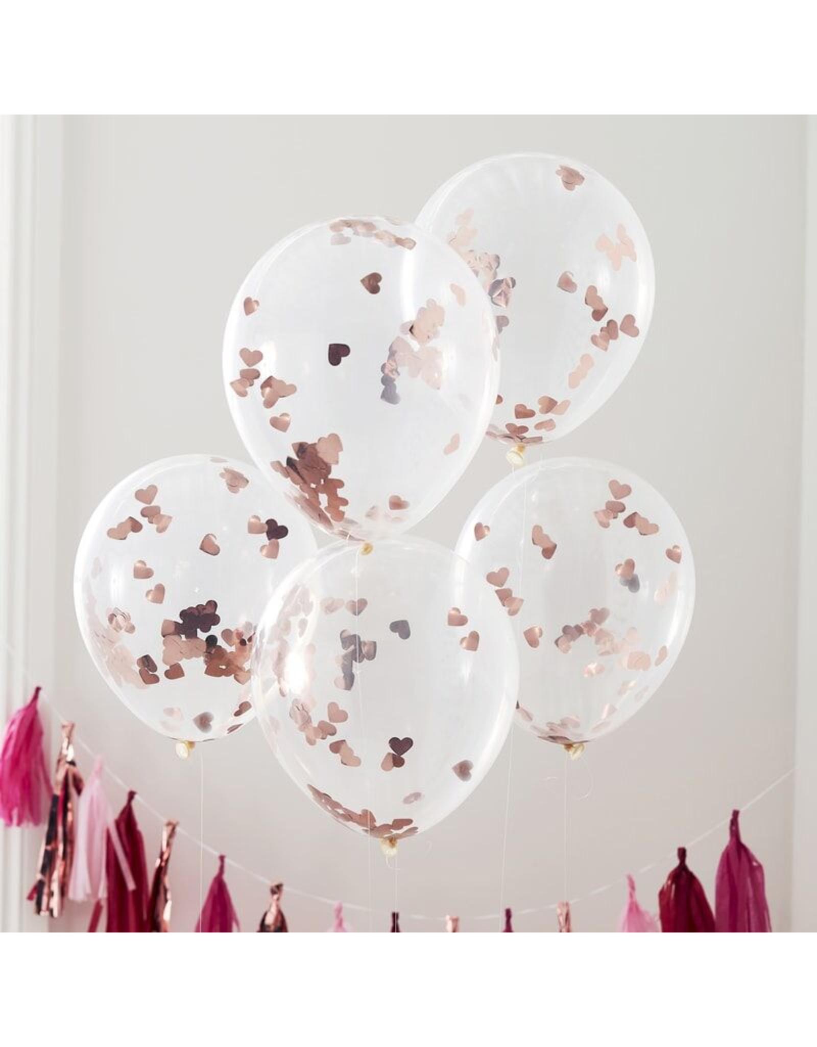Ginger Ray Ballonnen Confetti Rosé Hartjes