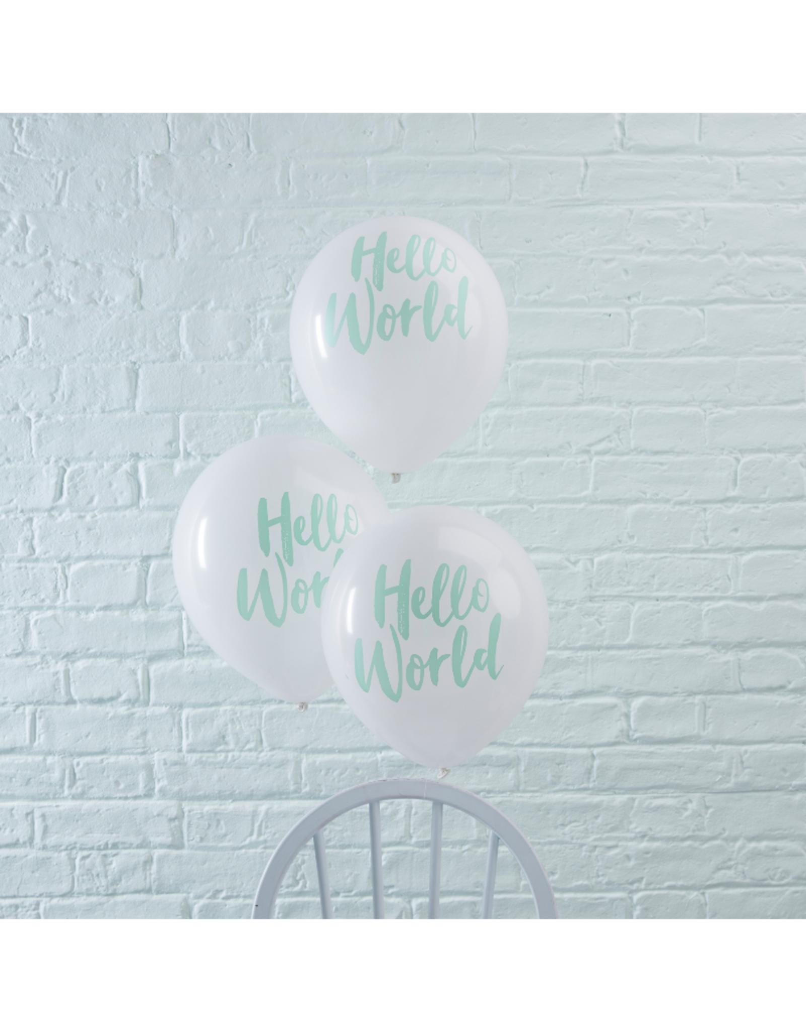 Ginger Ray Hello World Ballonnen Mint Wit