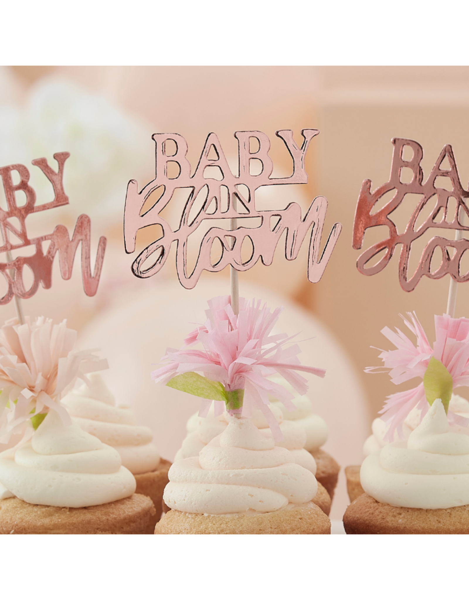 Ginger Ray Baby in Bloom Floral Cupcake Toppers