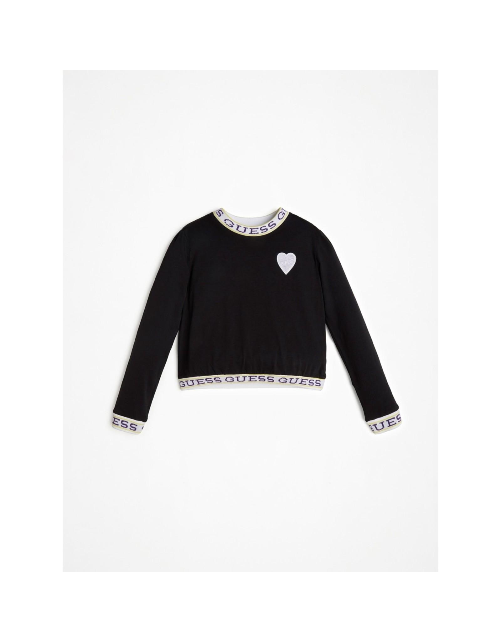 Guess Sweater Logo Tape Neon Black