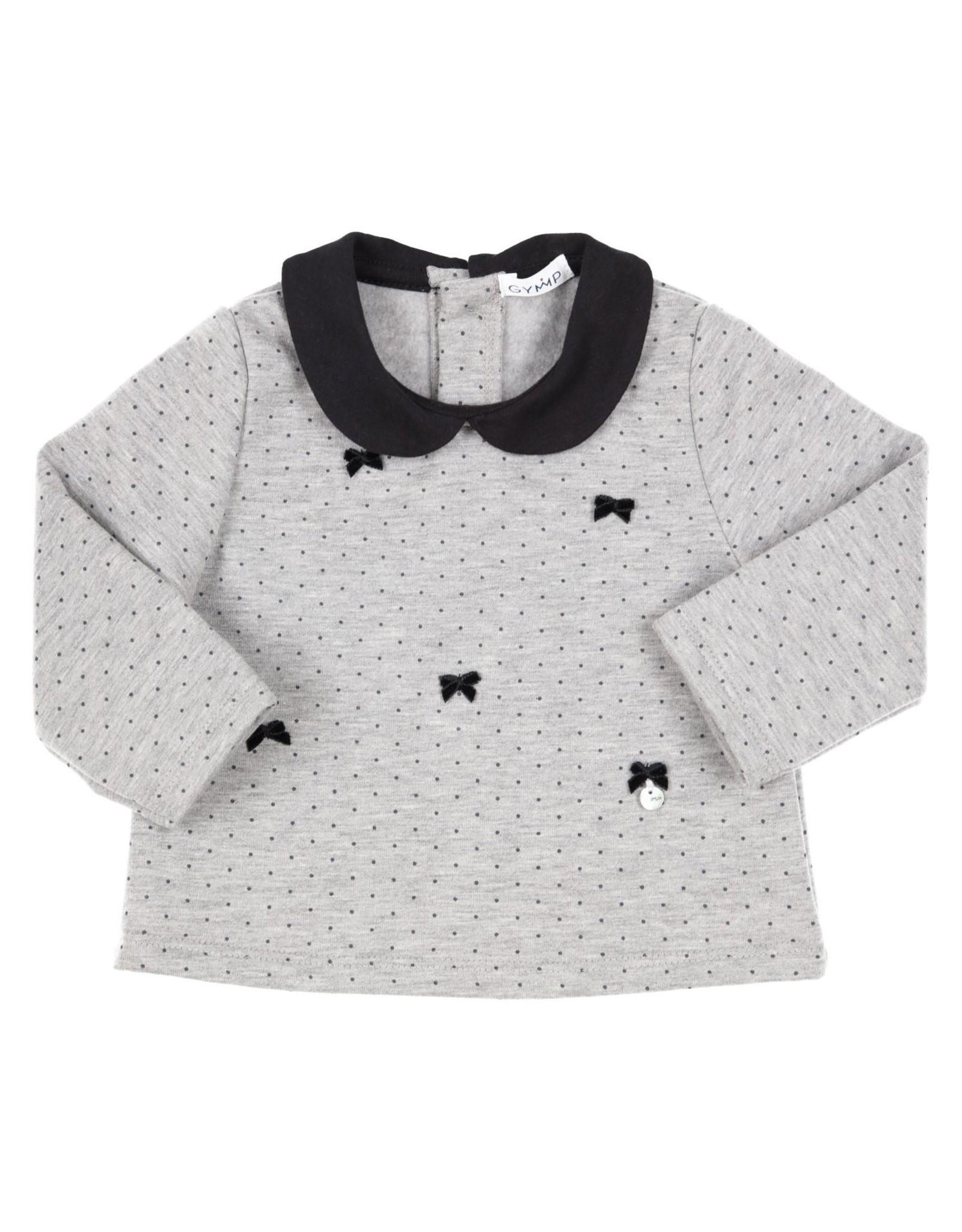 Gymp Sweater met Strikjes en lcaudine Kraagje Grijs