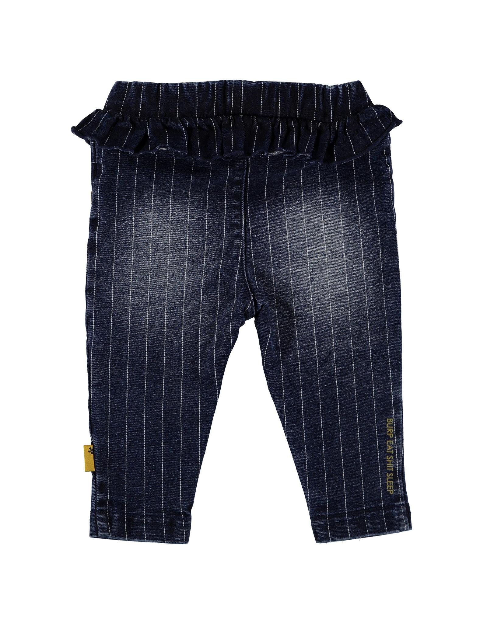 Bess Pants Denim Striped Ruffle Stone Wash