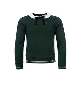 LOOXS Little Sweater met Poplinnen Kraagje Forrest Green