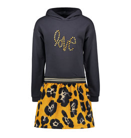 Like Flo girls velvet hooded dress with rib skirt Navy