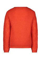 Like Flo girls knitted ajour sweater Pumpkin