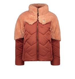 Like Flo girls fancy fur colourblock jacket Rust