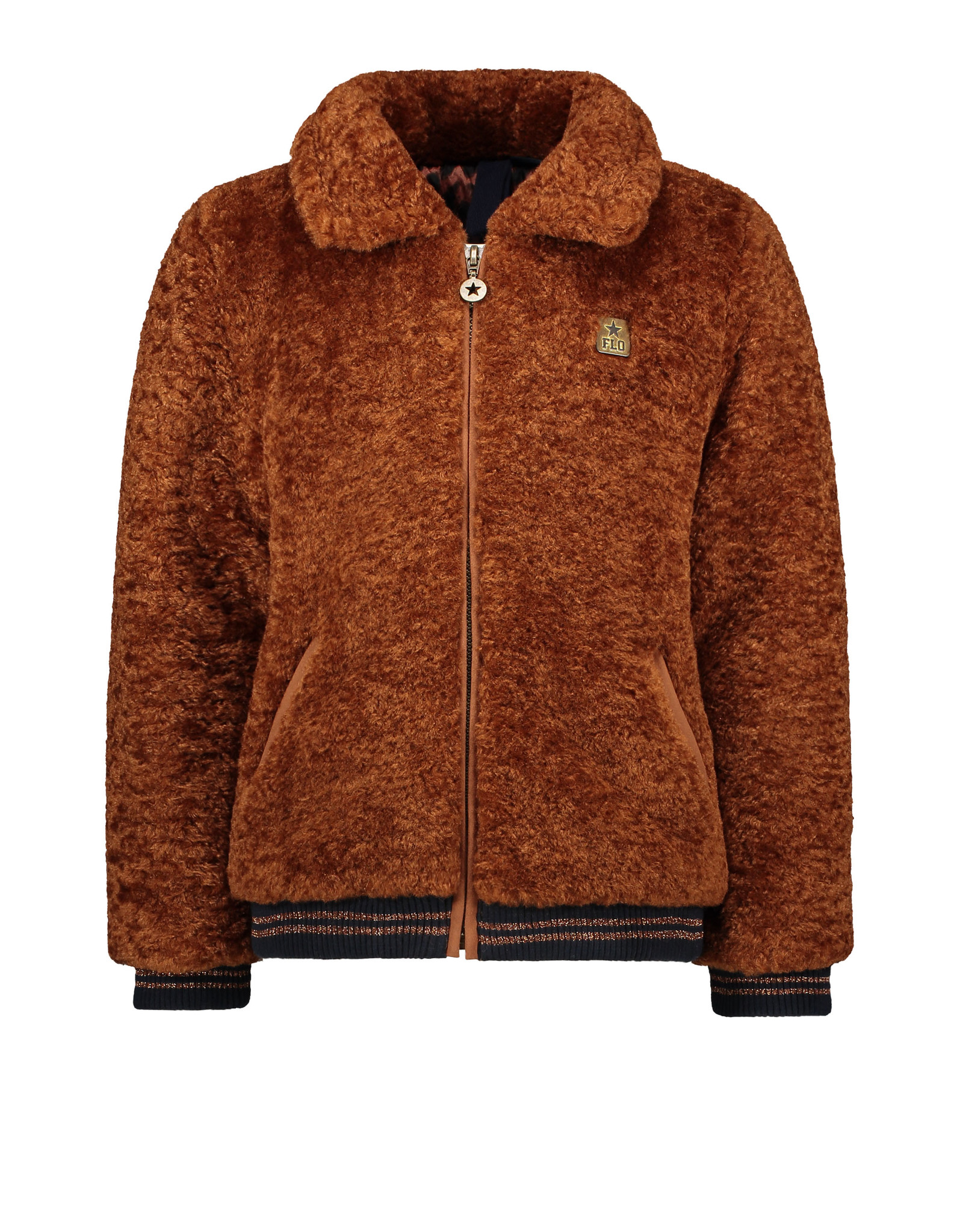 Like Flo girls fur jacket Cognac
