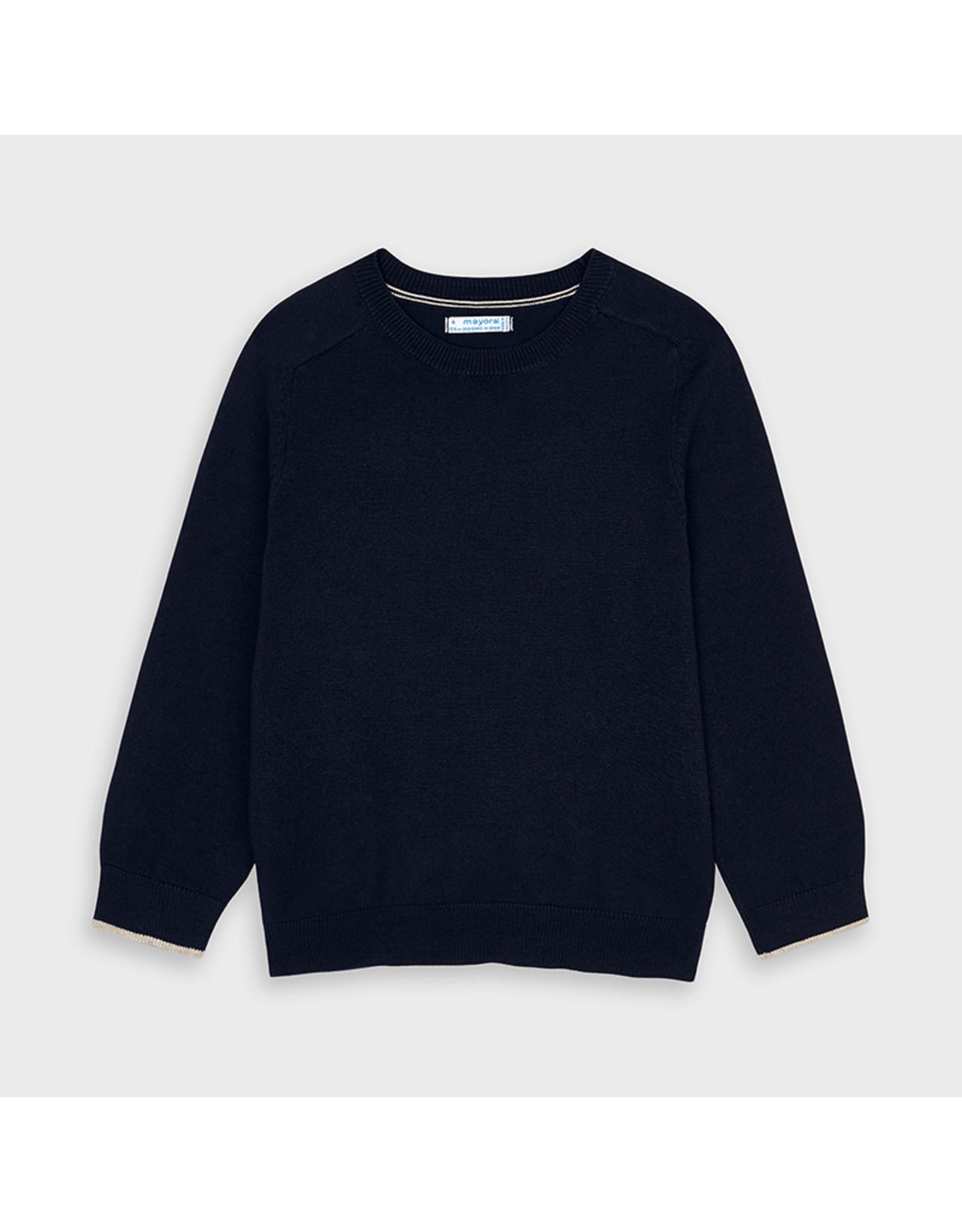 Mayoral Basic cotton sweater w/round Navy