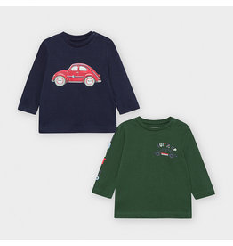 """Mayoral set of 2 t-shirt L/s """"cars""""  blue green"""
