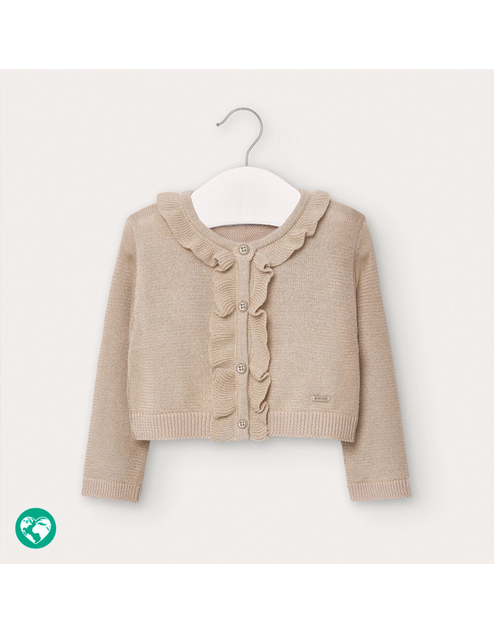 Mayoral Knitted cardigan with flounce Stone