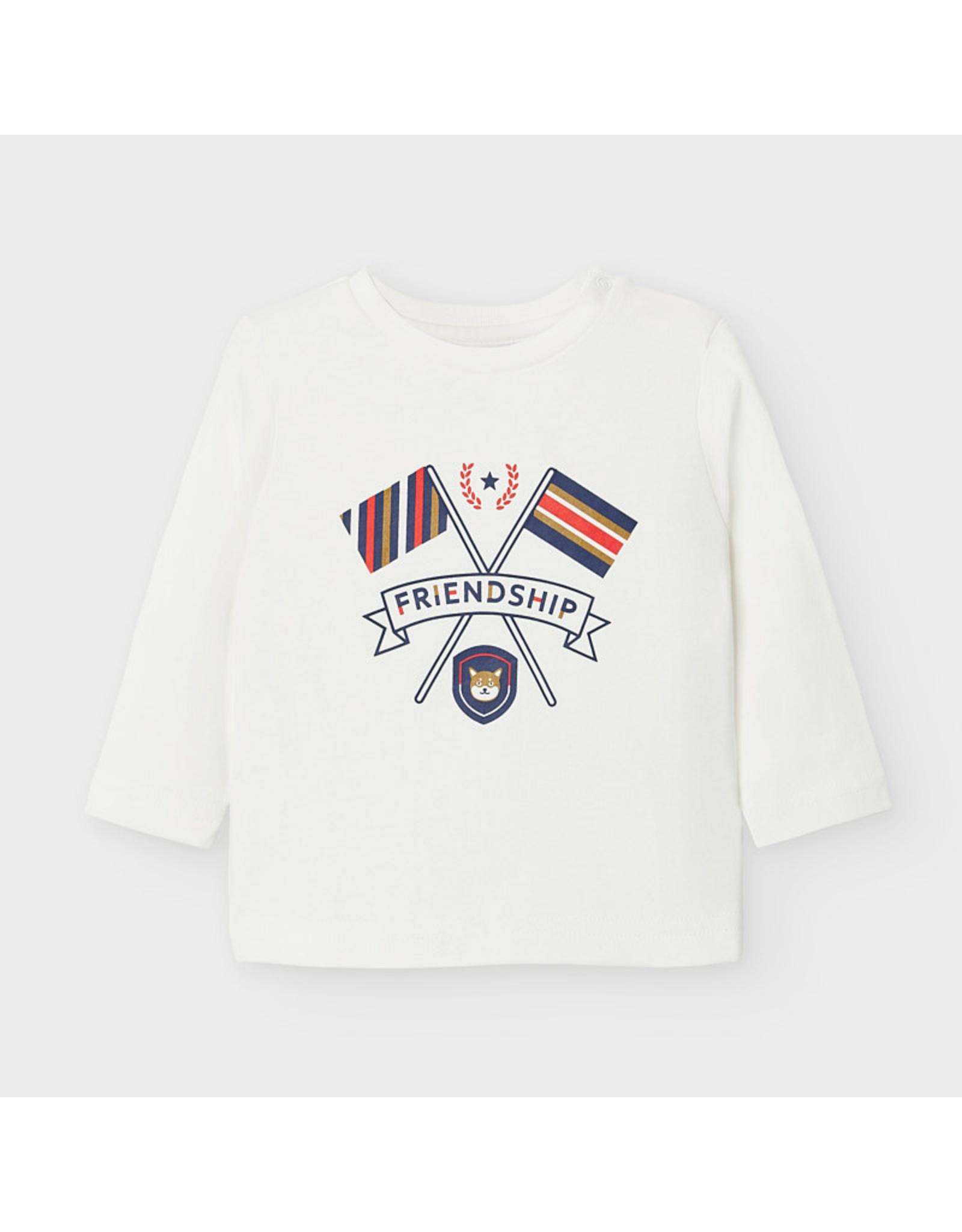 "Mayoral L/s t shirt ""friendship"" Cream"