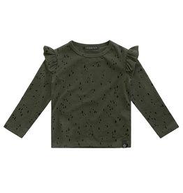 Your Wishes Splatters | Ruffle Shoulder Top Desk Green