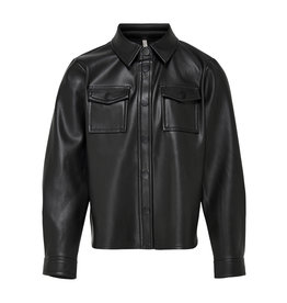 Kids Only Konbrylee-Dion Faux Leather Shirt Cs Pnt Black