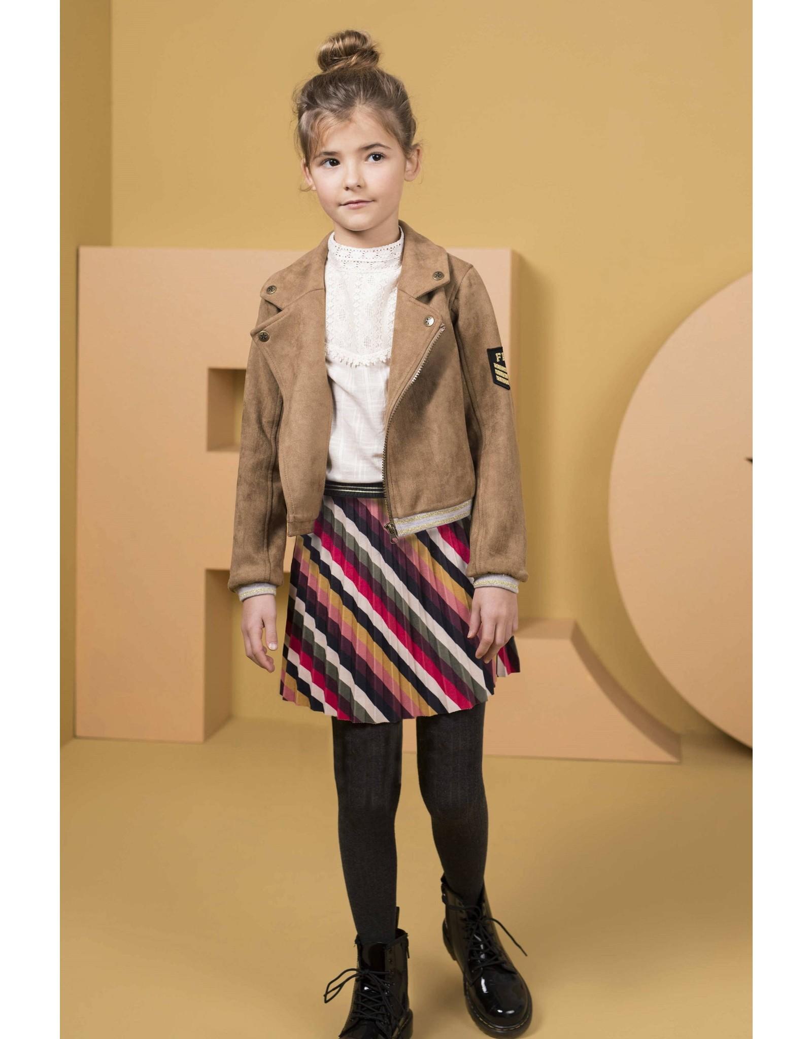 Like Flo girls stripe velvet plisse skirt Stripe