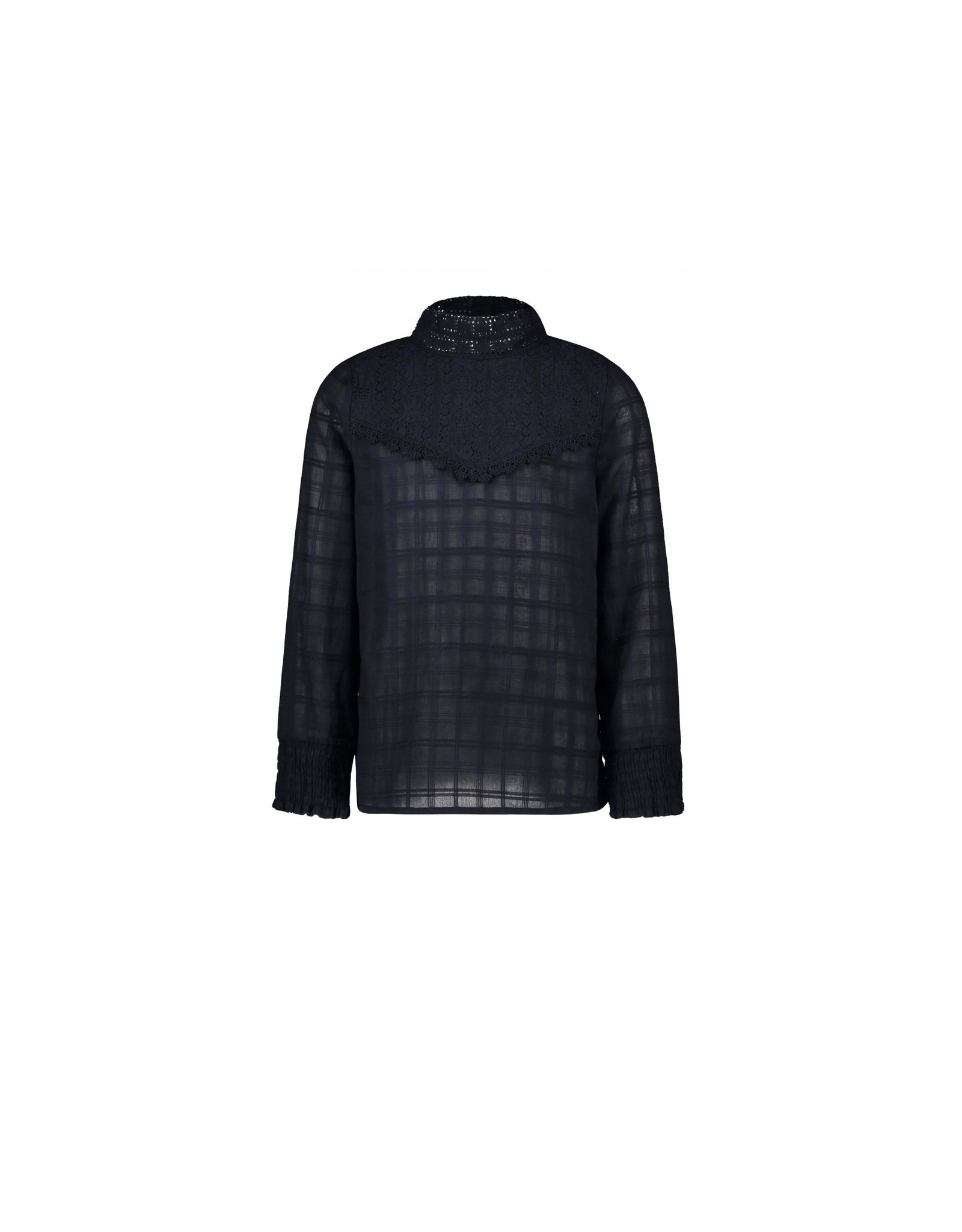 Like Flo girls woven blouse with lace turtle neck Navy