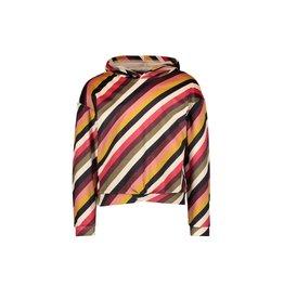 Like Flo girls velvet hooded sweater Stripe