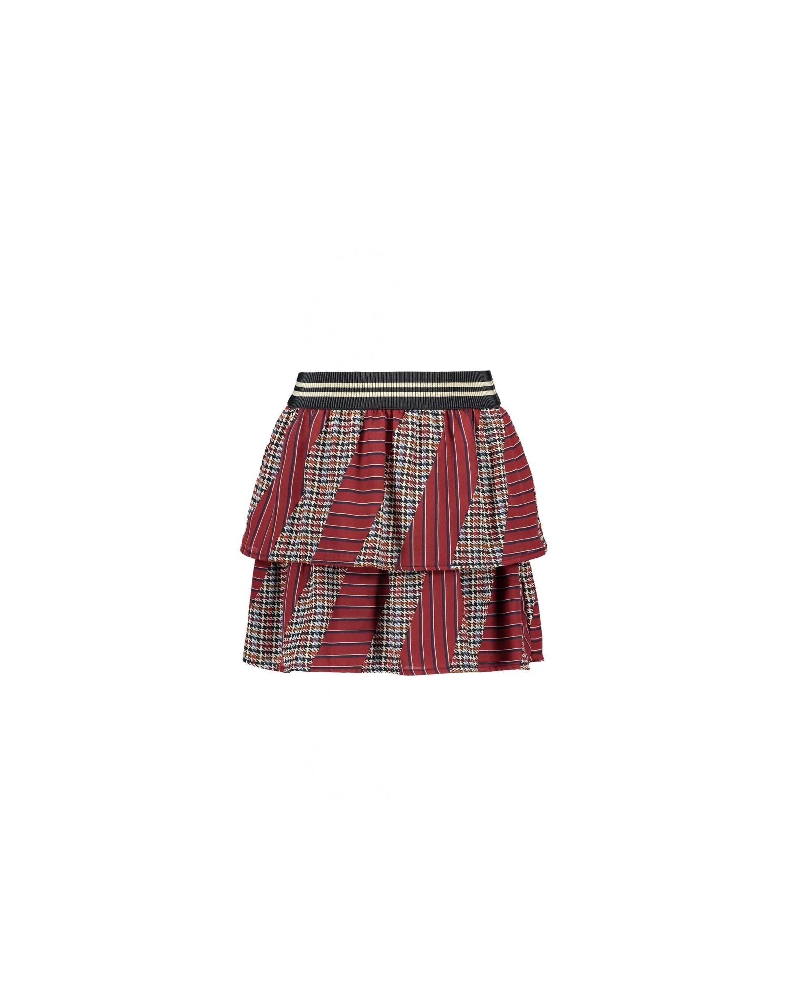Like Flo girls woven check-stripe skirt Graphic