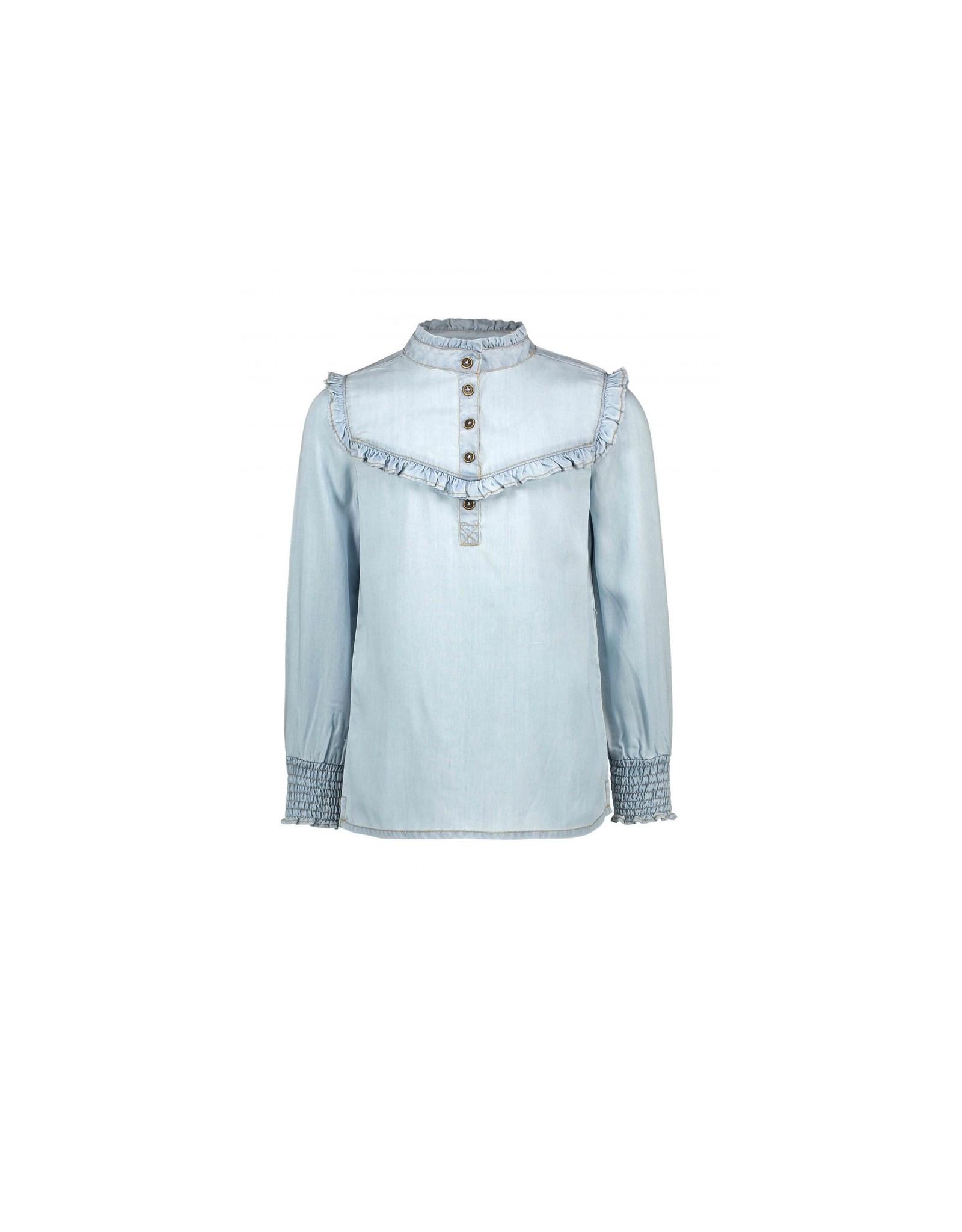 Like Flo girls lt denim woven ruffle blouse  lt denim