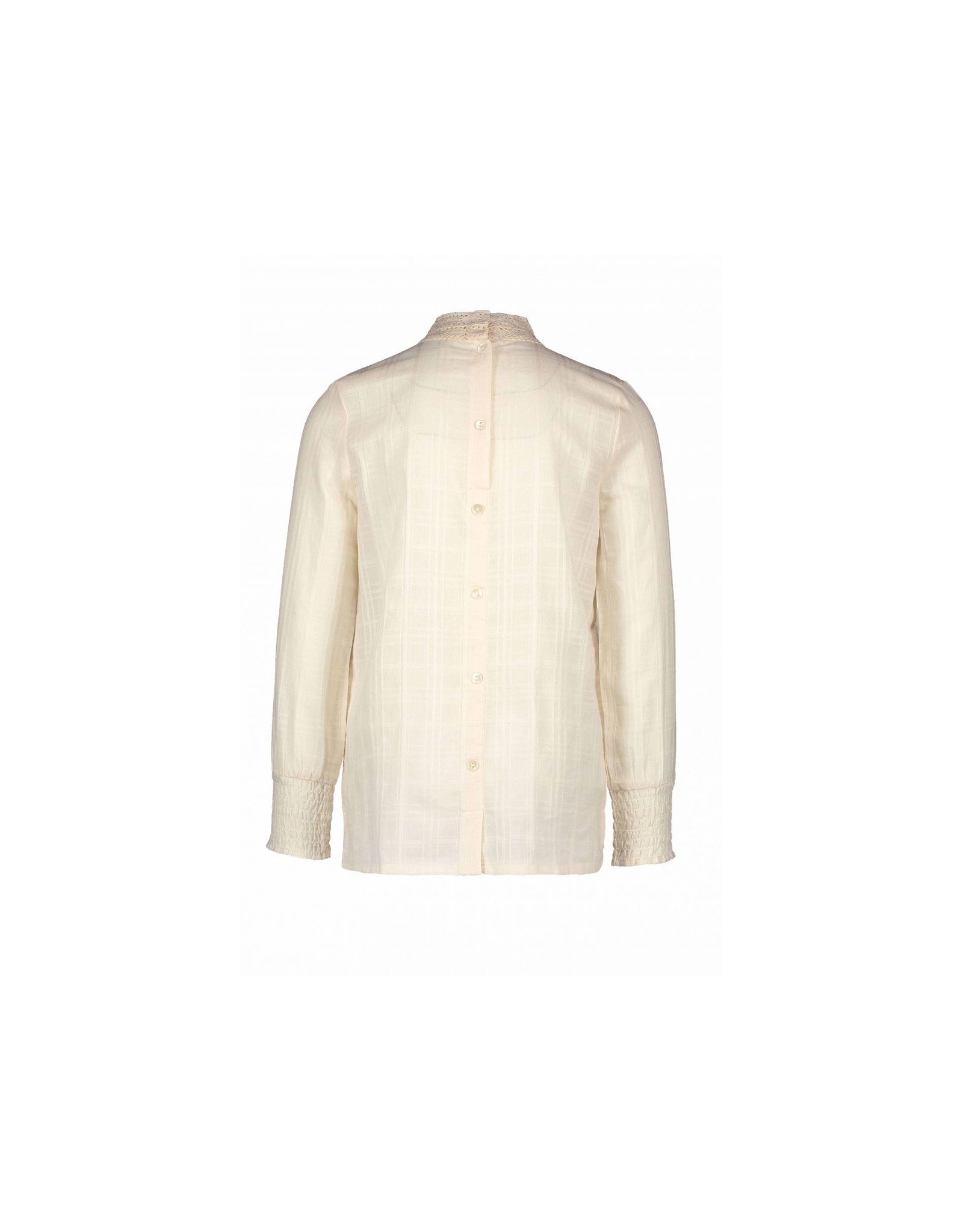 Like Flo girls woven blouse with lace turtle neck Off white