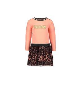 Like Flo baby girls jersey ls dress AO mesh skirt Old pink