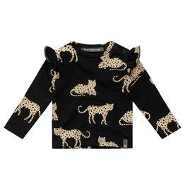 Your Wishes Ruffle Shoulder Top Wild Cheetahs Zwart