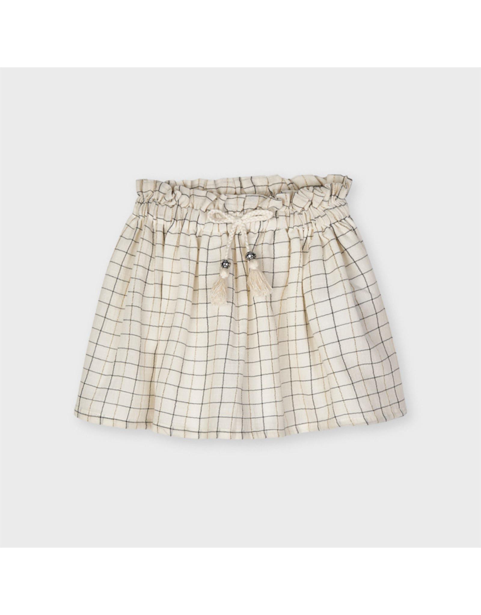 Mayoral plaid lurex skirt  Sand