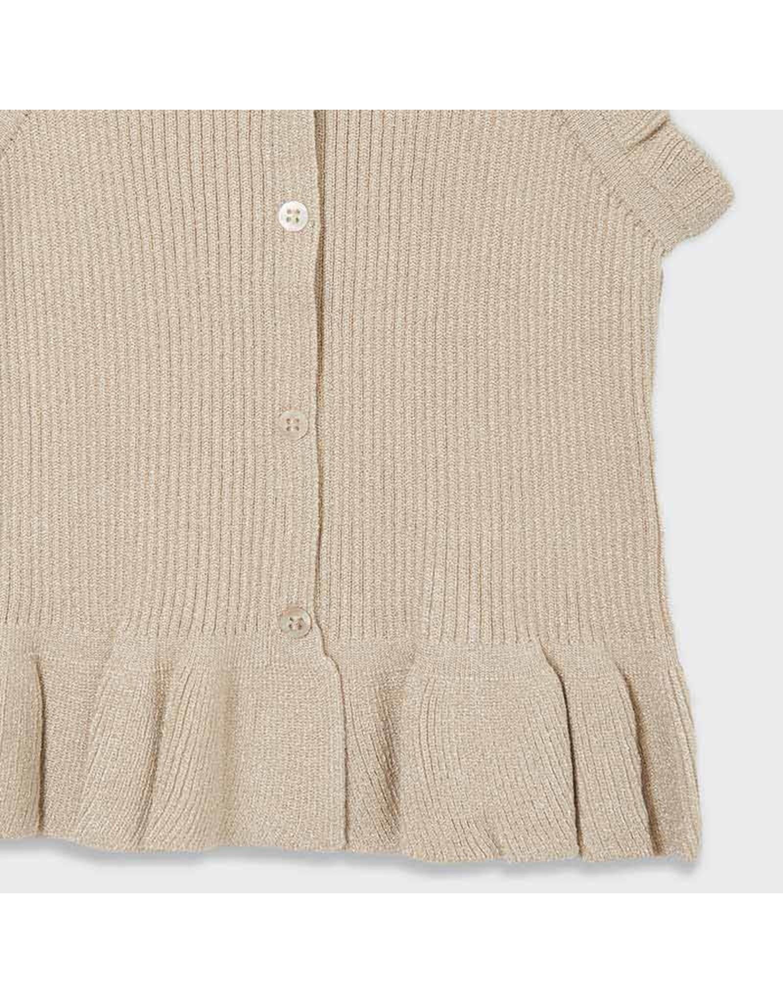 Mayoral rib knit top  gold lurex