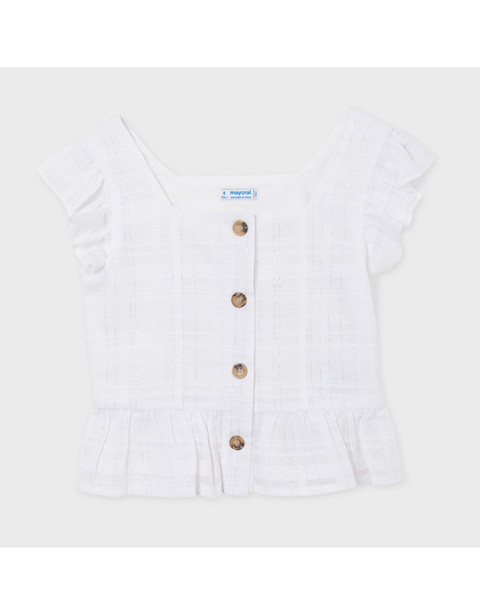 Mayoral blouse with lurex buttons  White