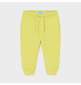Mayoral Basic cuffed fleece trousers Lime