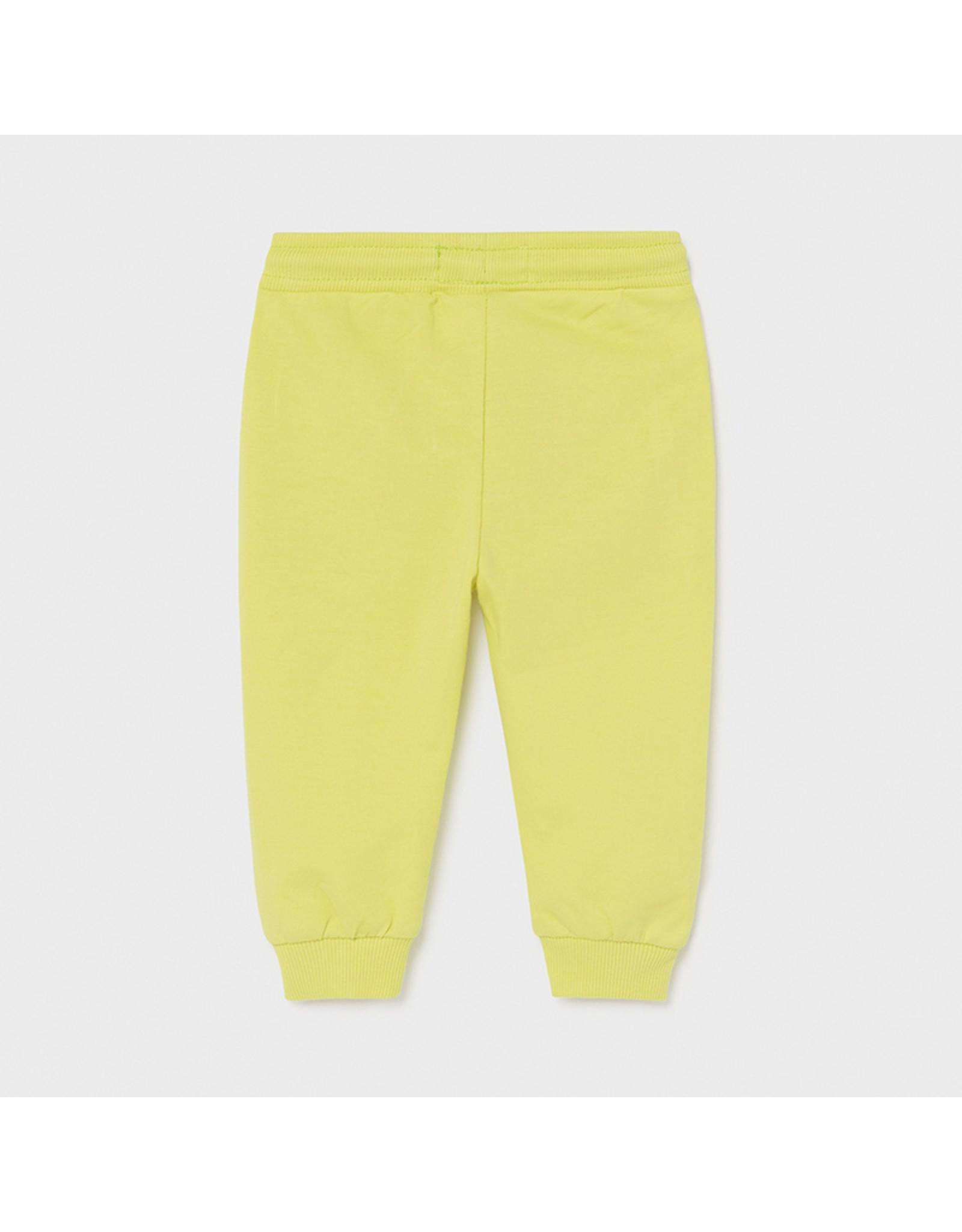 Mayoral Basic cuffed fleece trousers Lime