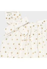 Mayoral perforated dotted dress Natural
