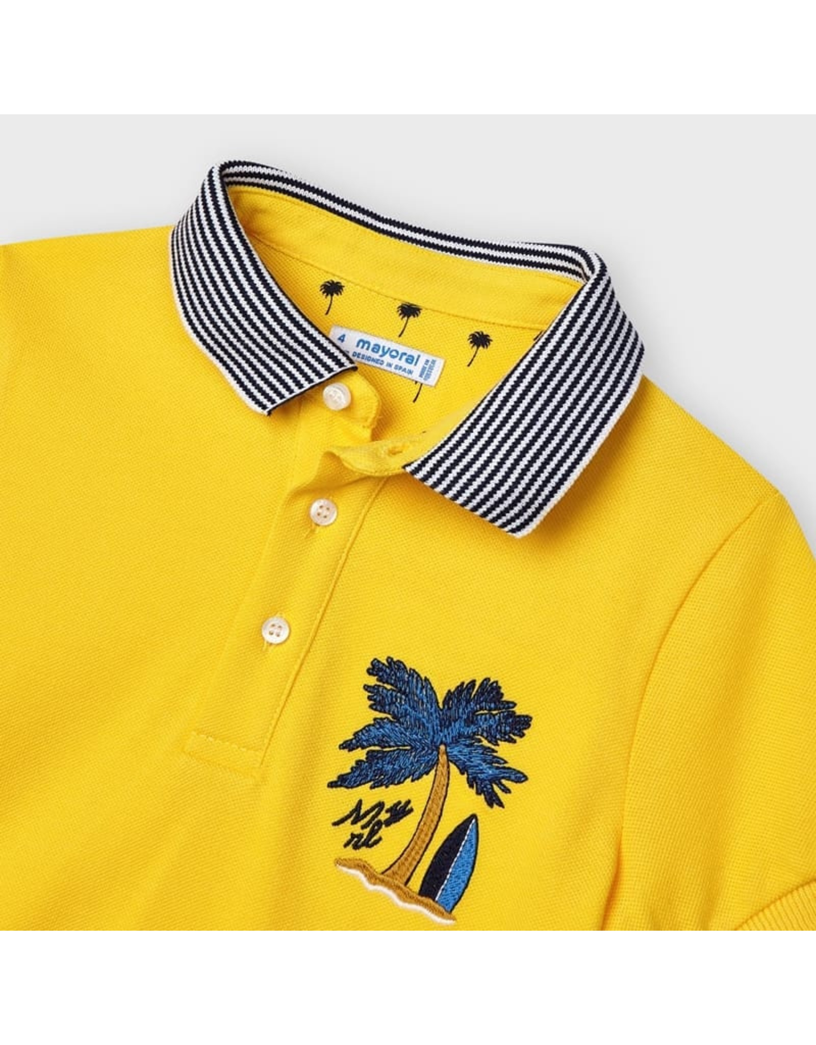 Mayoral s/s embroided polo  Yellow
