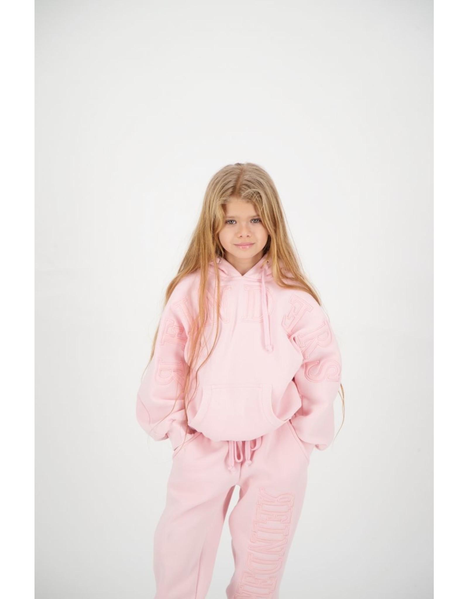Reinders Hoodie Wording Tone to Tone Baby Pink