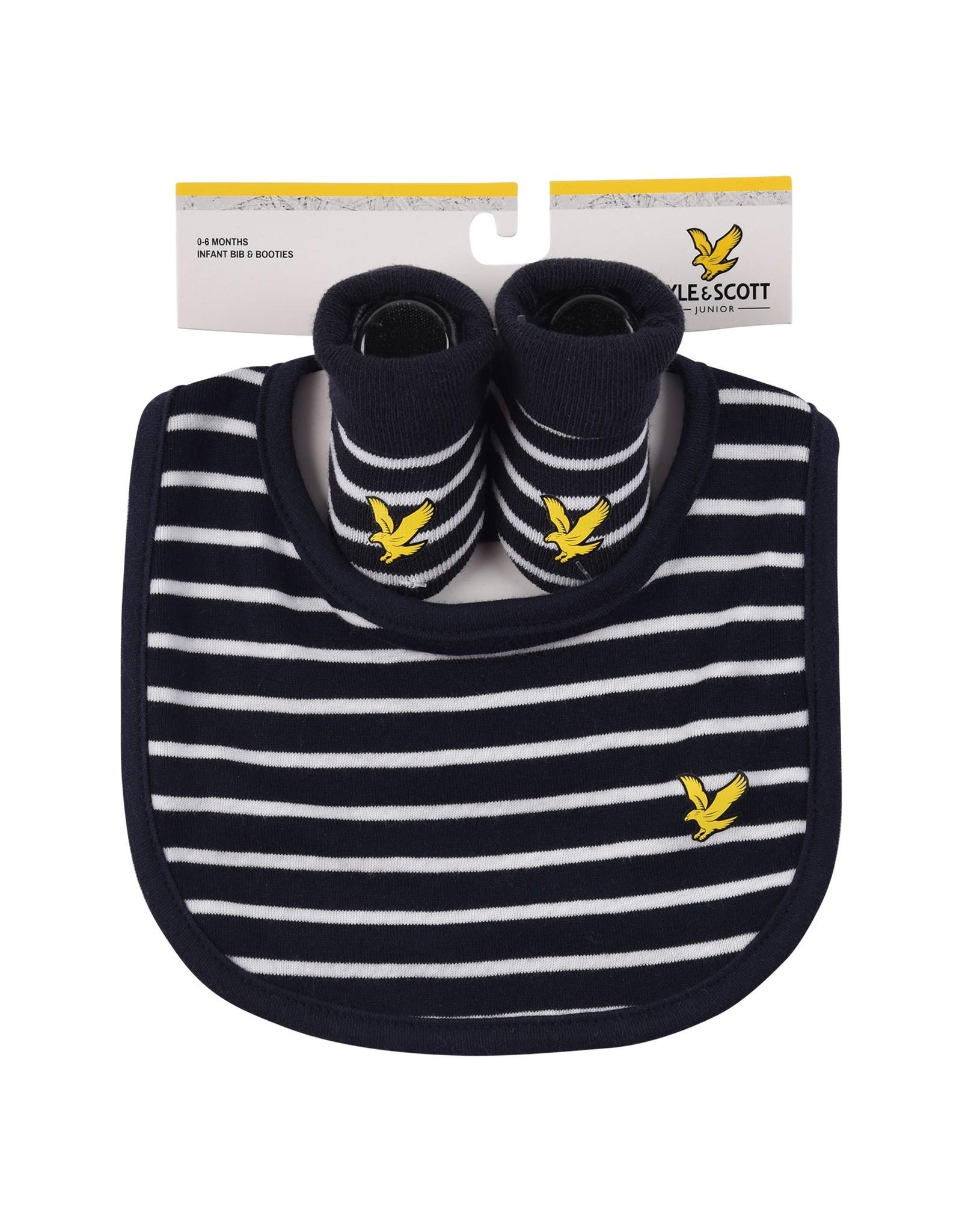 Lyle & Scott Boys Eagle Badge Bib & Bootie Set Navy Blazer