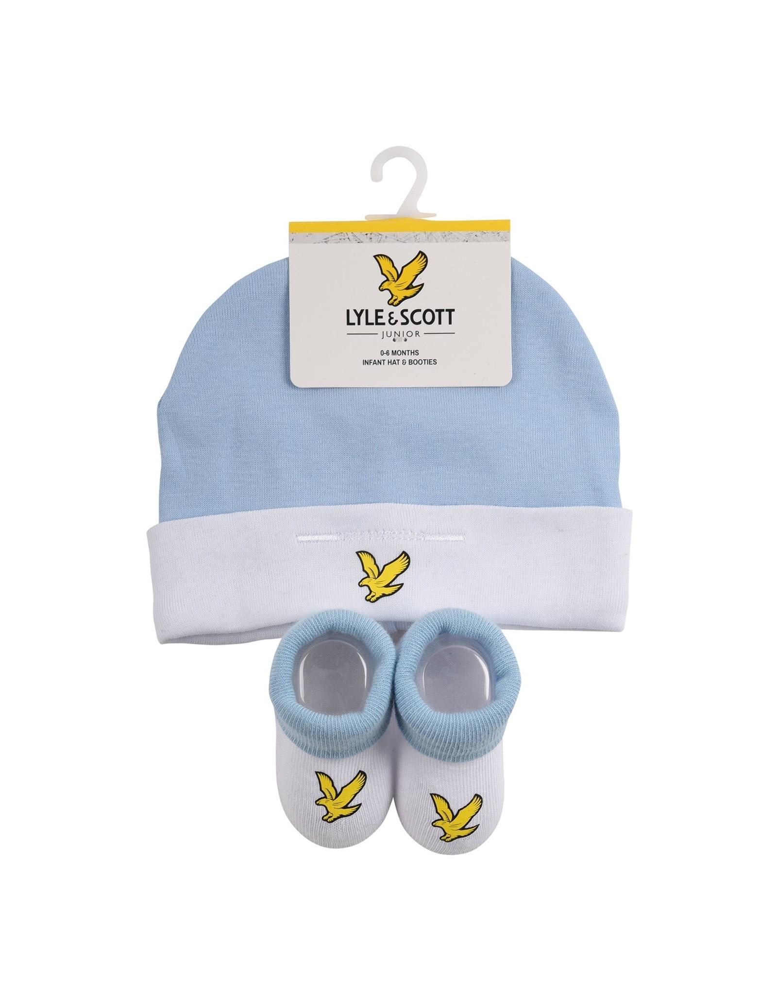 Lyle & Scott Boys Eagle Badge Hat & Bootie Set Chambray Blue